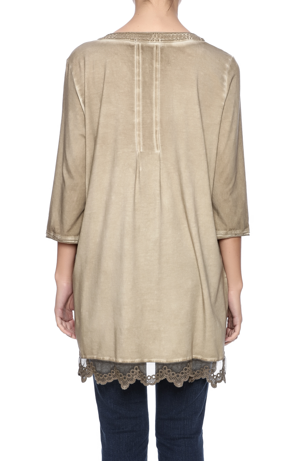 Gretty Zuegar Embroidered Sand Tunic - Back Cropped Image