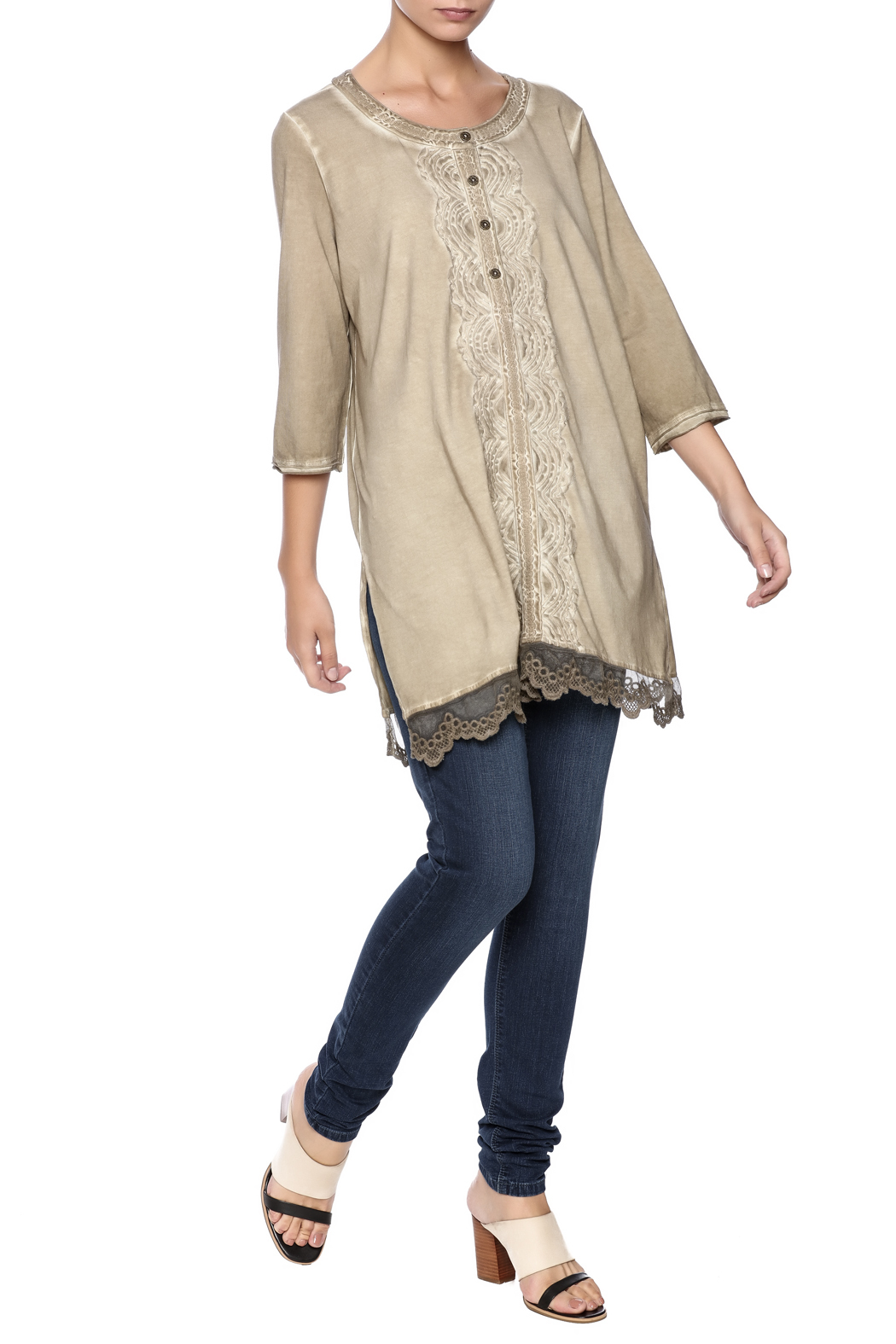 Gretty Zuegar Embroidered Sand Tunic - Front Full Image