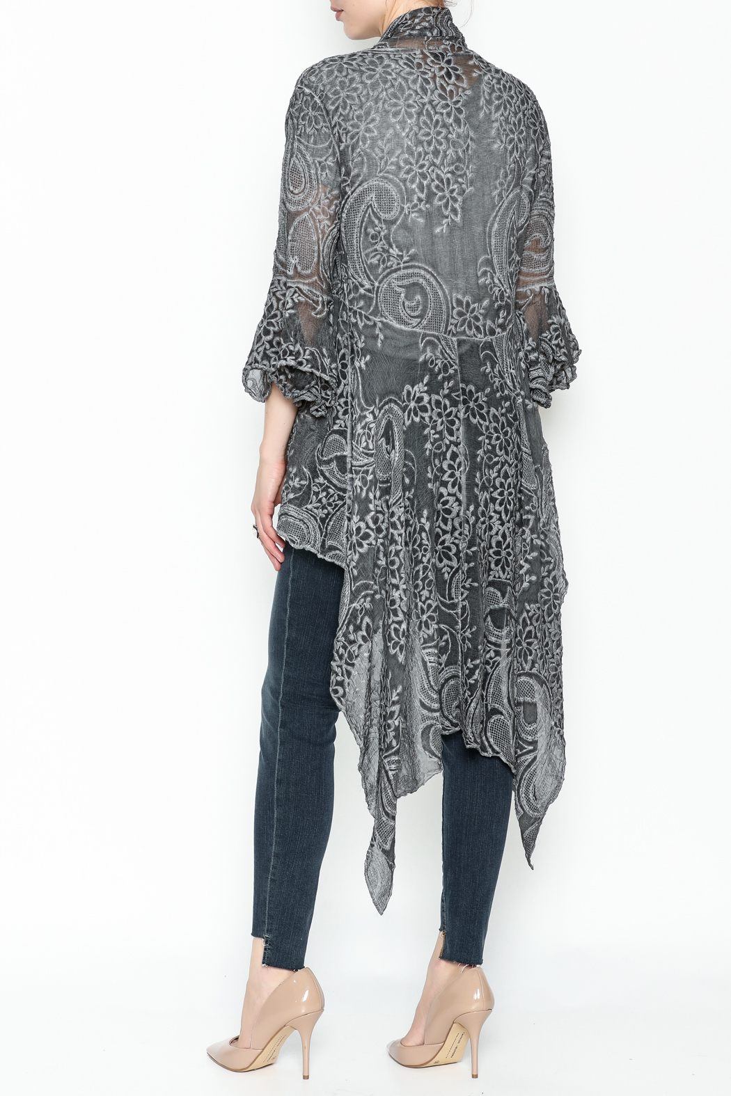 Gretty Zuegar Embroidered Silk Cardigan - Back Cropped Image