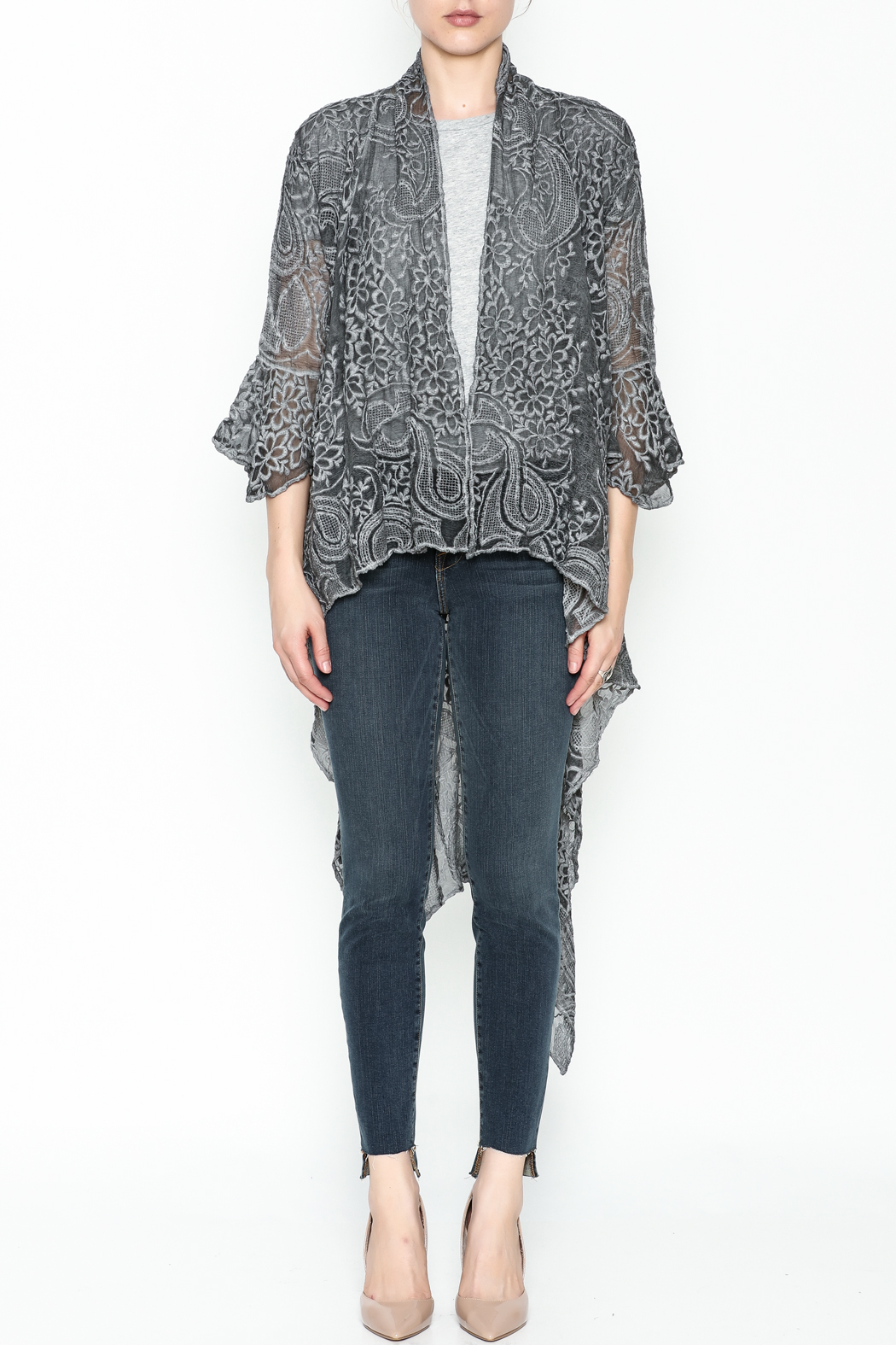 Gretty Zuegar Embroidered Silk Cardigan - Front Full Image