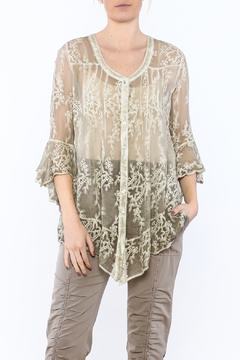 Gretty Zuegar Green Embroidered Silk Blouse - Product List Image