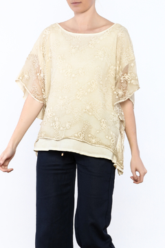 Gretty Zuegar Beige Embroidered Silk Top - Product List Image