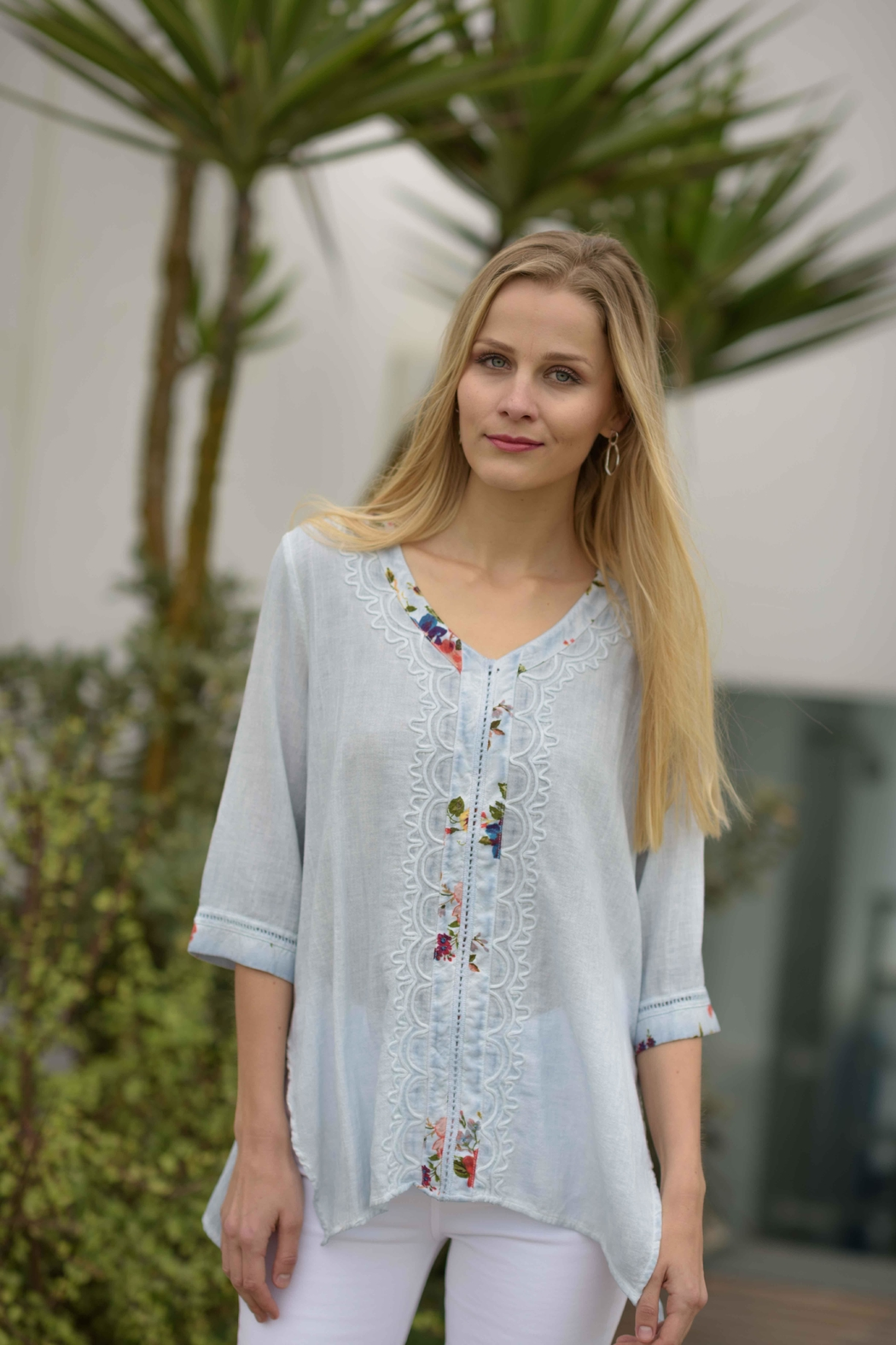 Gretty Zuegar Embroidered Boho Top - Front Cropped Image