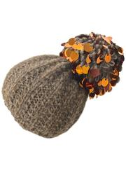 Grevi Brown Paillette Beanie - Product Mini Image