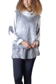 Shoptiques Product: Grey and Vanilla Lace Front Sweater