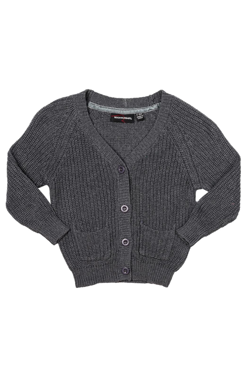 Rock Your Baby Grey Baby Cardigan - Main Image