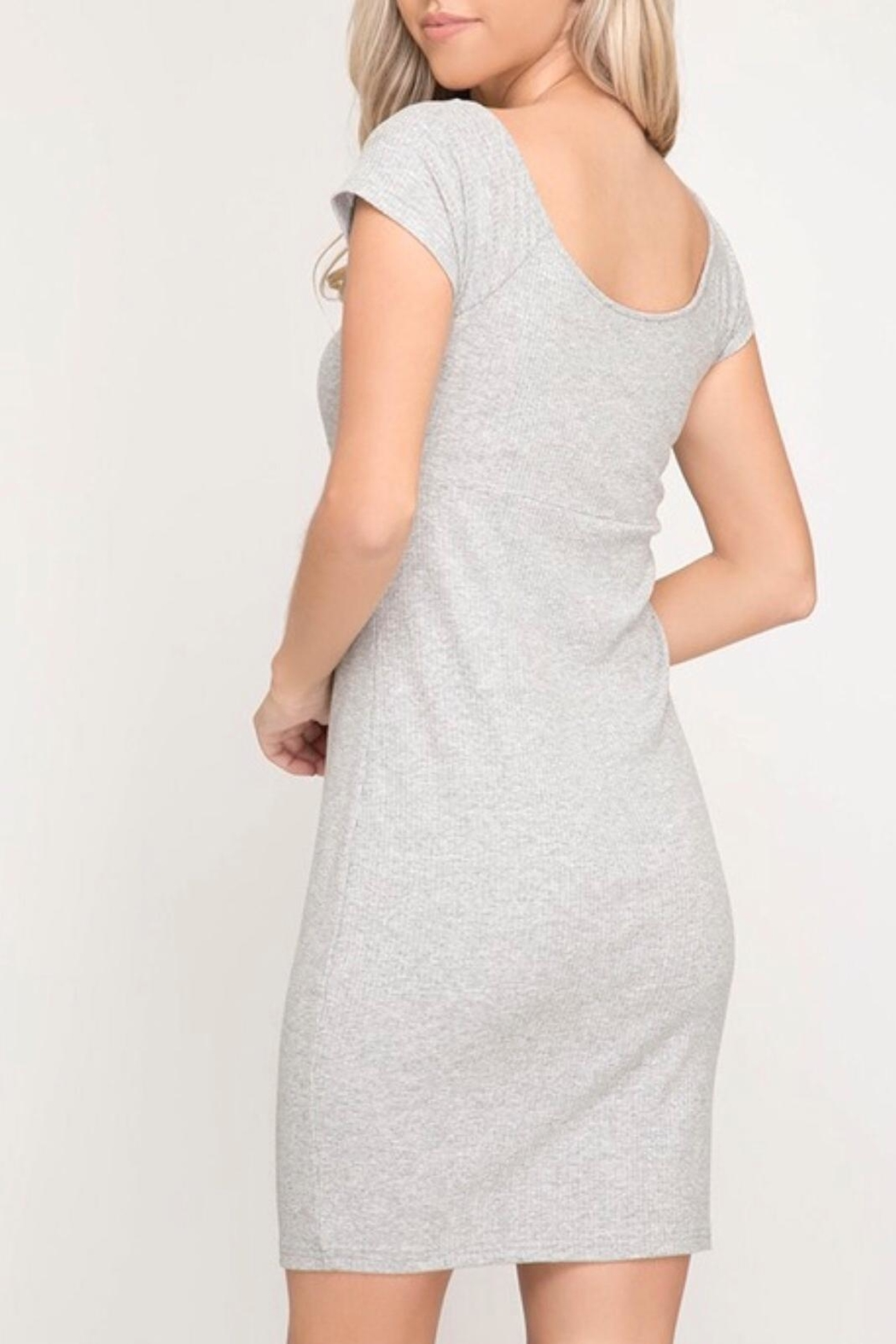 She + Sky Grey Bodycon Dress - Front Full Image