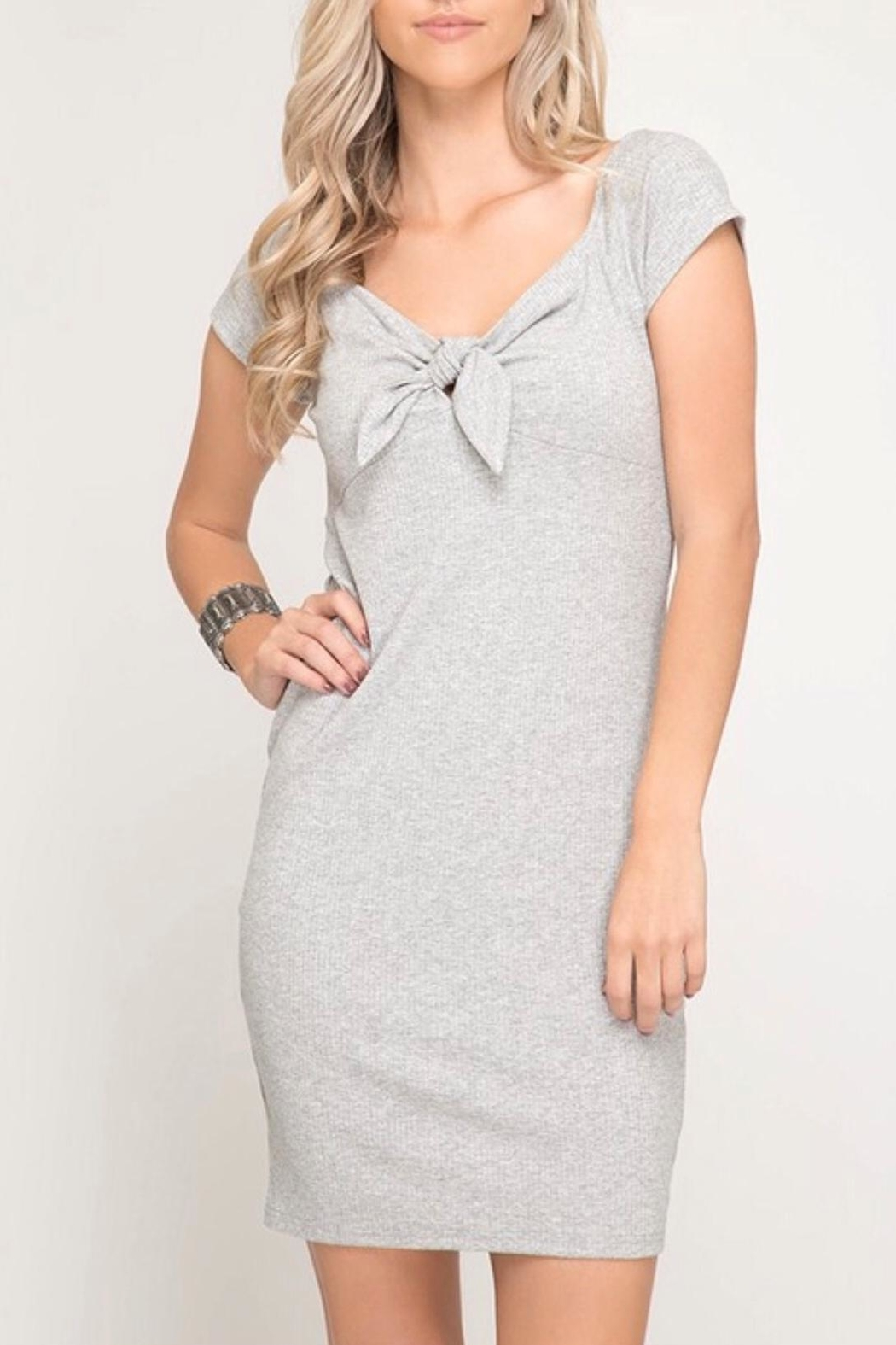 She + Sky Grey Bodycon Dress - Main Image