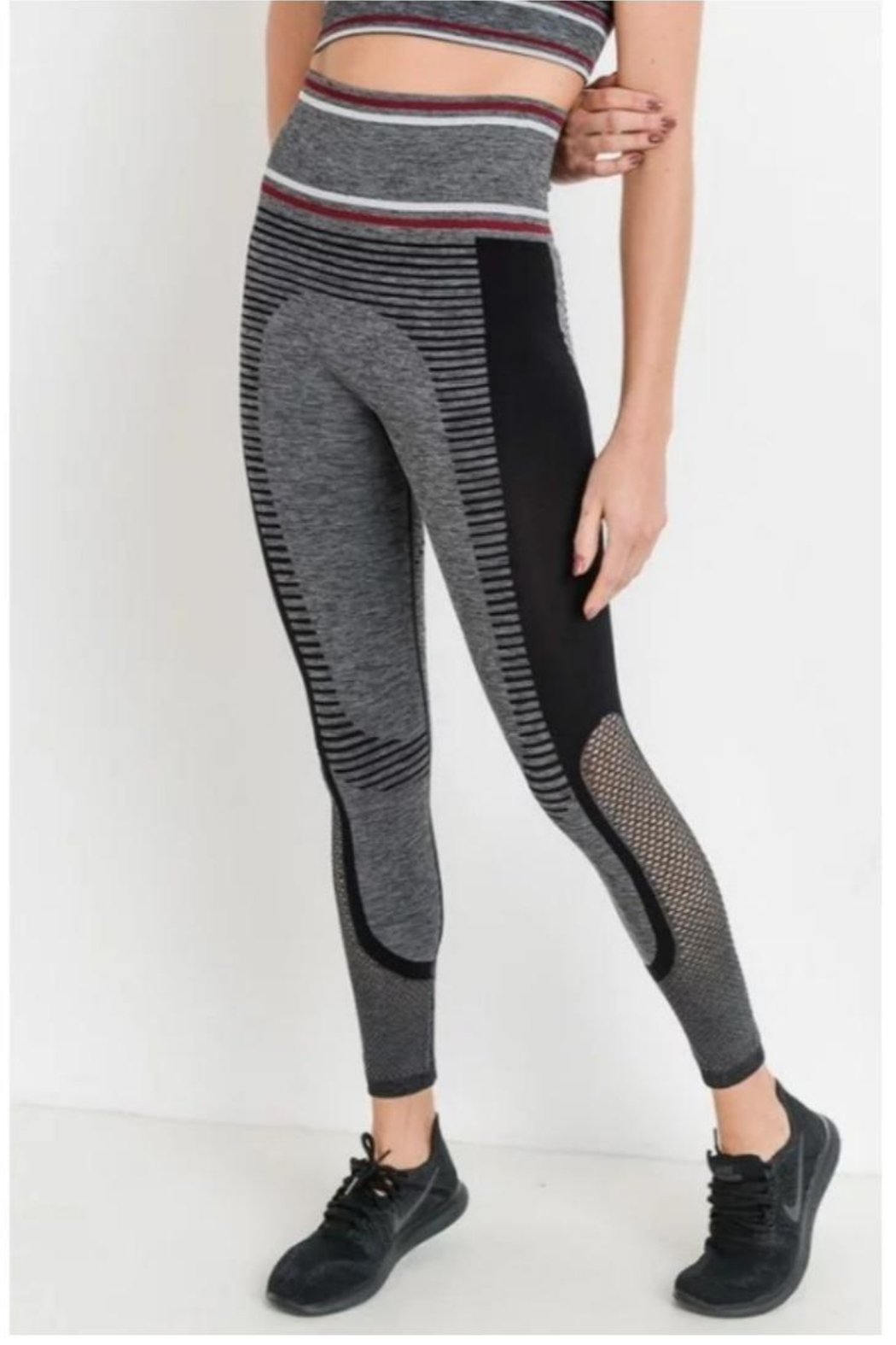Mono B Grey Burgundy Leggings - Main Image