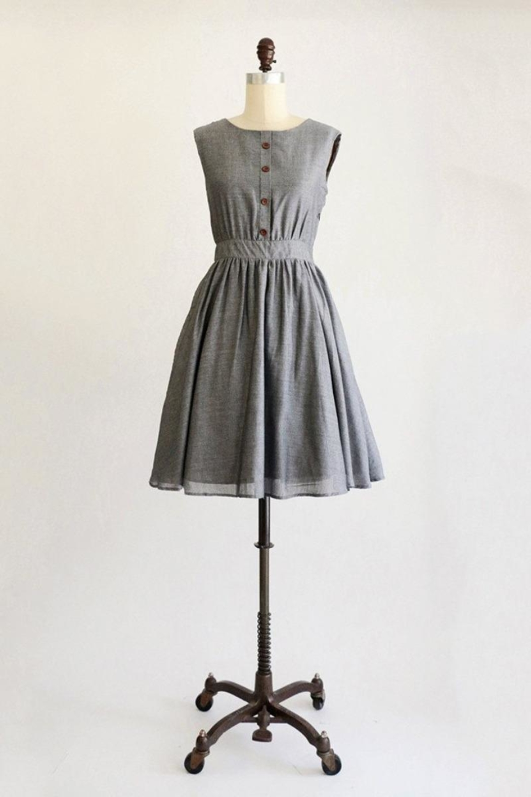 Apricity Grey Button Dress - Front Cropped Image
