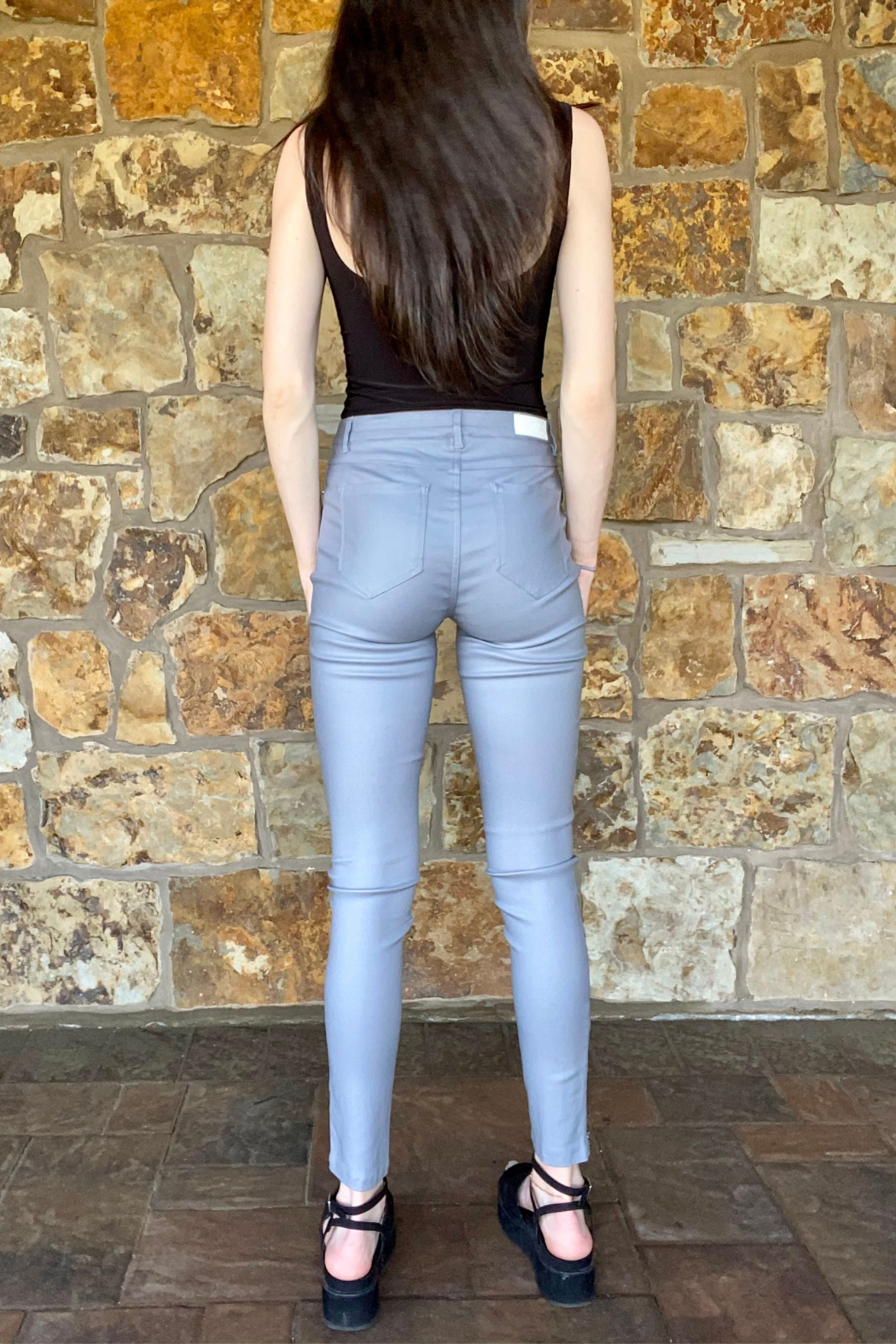 Bianco Jeans Grey Coated Ankle Zip Jean - Back Cropped Image