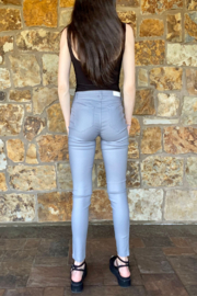 Bianco Jeans Grey Coated Ankle Zip Jean - Back cropped