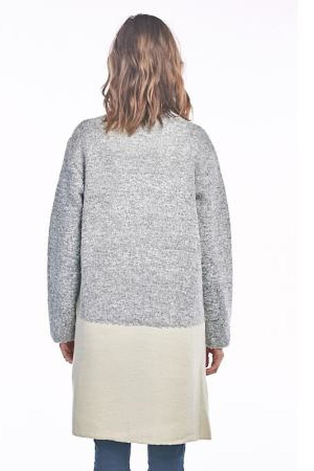 Sinuous Grey Colorblock Cardigan - Front Full Image