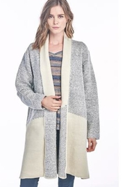 Sinuous Grey Colorblock Cardigan - Front cropped