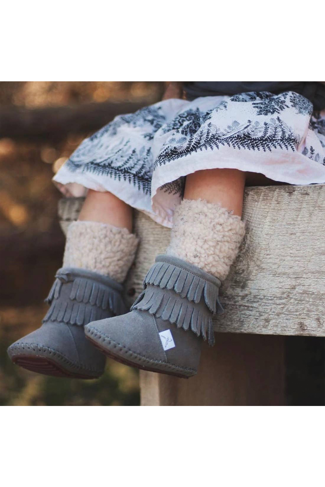 Little Love Bug Company Grey Cozy Boot - Back Cropped Image