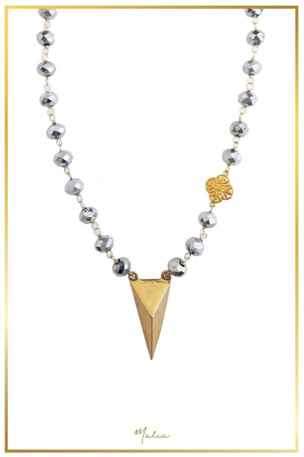 Malia Jewelry Grey-Crystals Charm Necklace - Main Image
