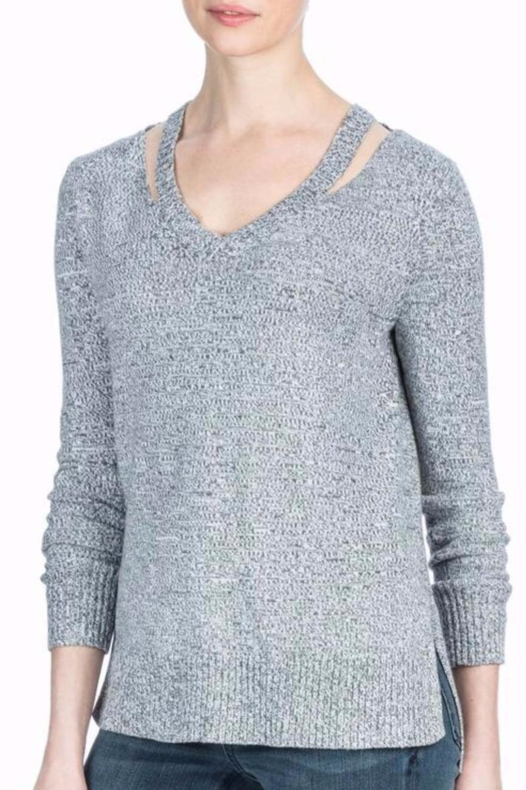 Lilla P Grey Cutout Sweater - Front Cropped Image