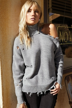 Shoptiques Product: Grey Distressed Sweater