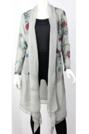 Vintage grey duster with floral design - Product Mini Image