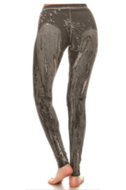 T Party Grey Dye-washed leggings - Front full body