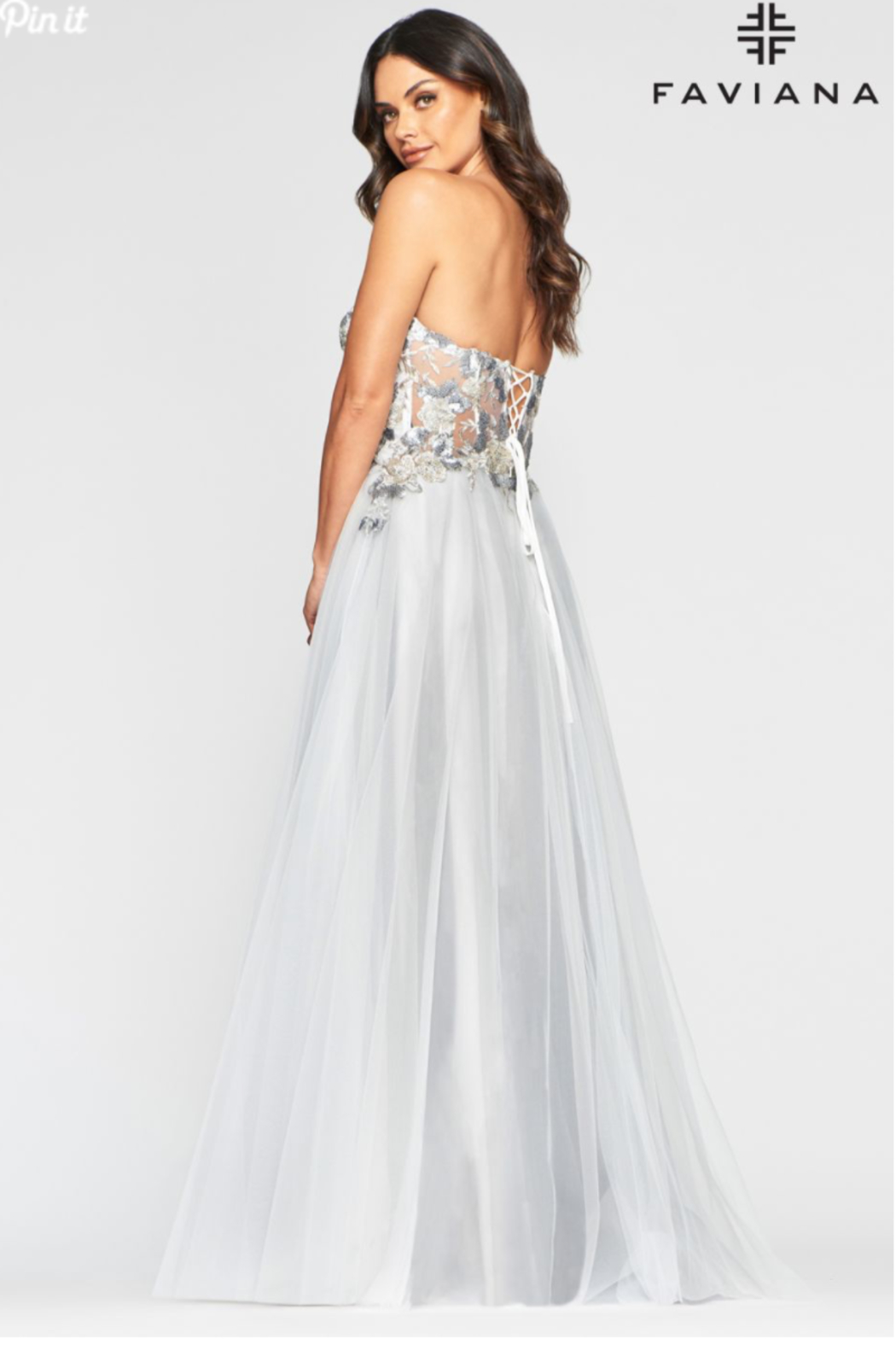 Faviana Grey Embroidered Gown - Front Full Image