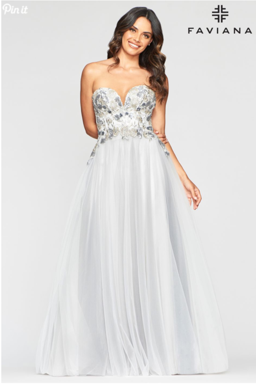 Faviana Grey Embroidered Gown - Main Image