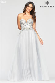 Faviana Grey Embroidered Gown - Front cropped