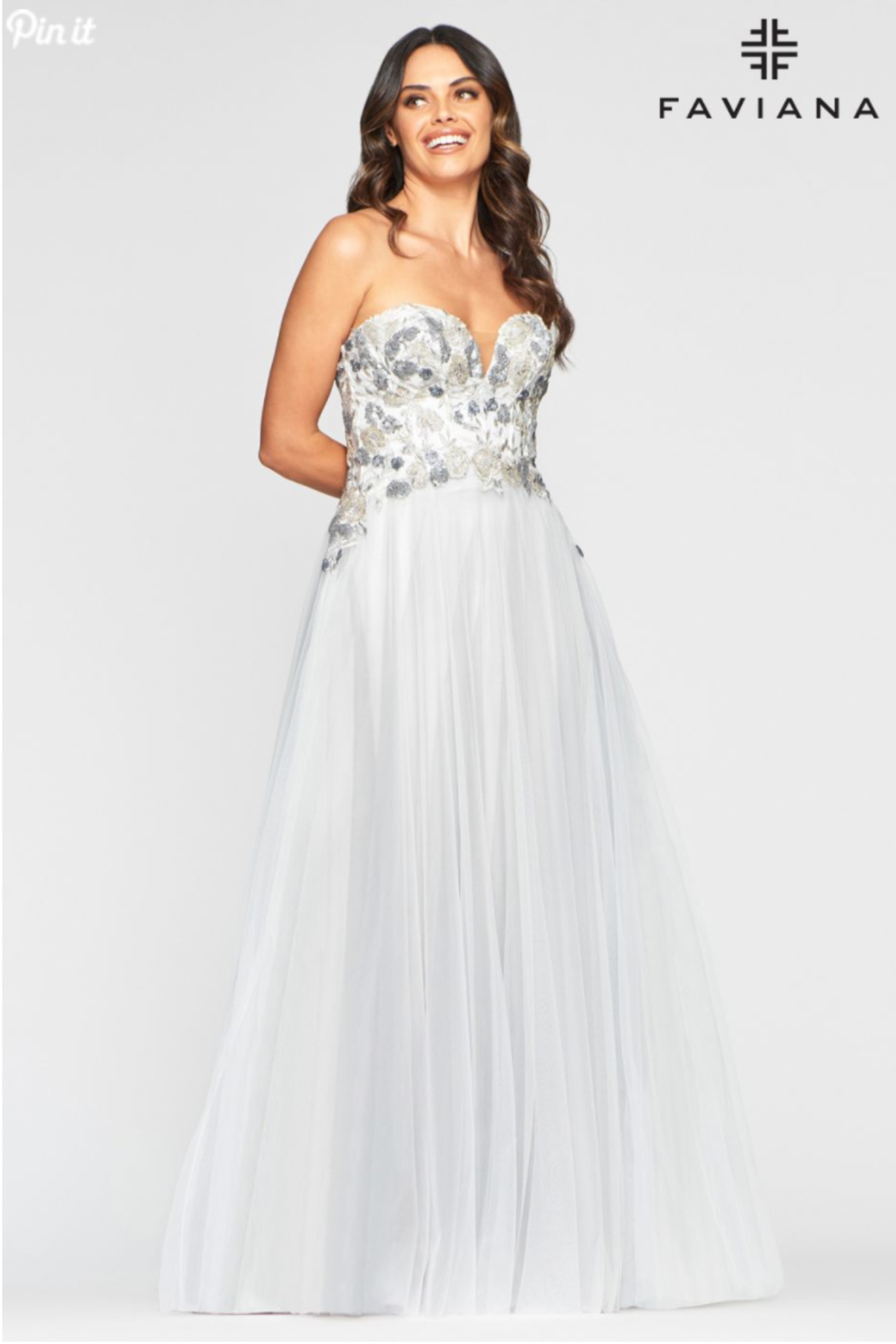 Faviana Grey Embroidered Gown - Side Cropped Image