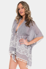 Janice Apparel Grey Embroidered Kimono - Front cropped