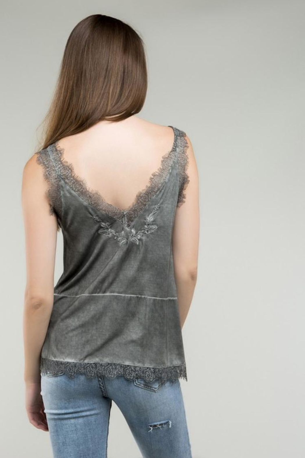POL Grey Embroidered Tank - Side Cropped Image