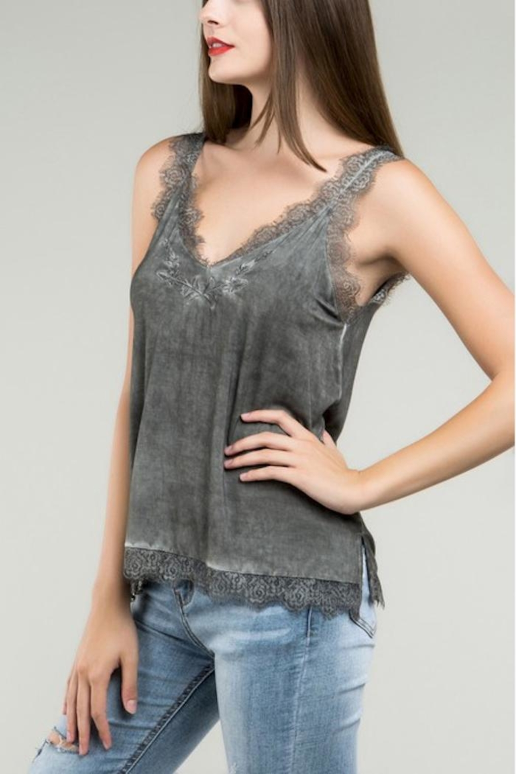 POL Grey Embroidered Tank - Main Image