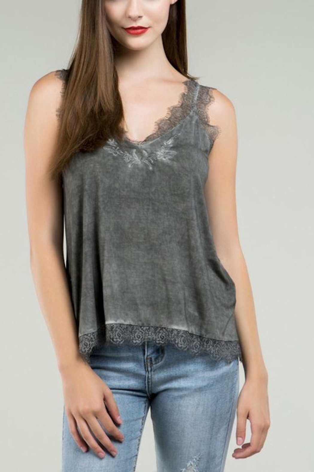POL Grey Embroidered Tank - Front Full Image