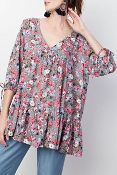 Umgee USA Grey-Floral Ruffle-Hem Top - Product List Image