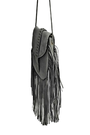 joseph d'arezzo Grey Fringe Bag - Front full body