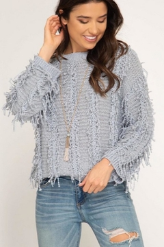 Shoptiques Product: Grey Fuzzy Sweater