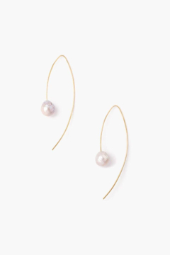 Shoptiques Product: Grey & Gold Pearl Drop Thread Earrings