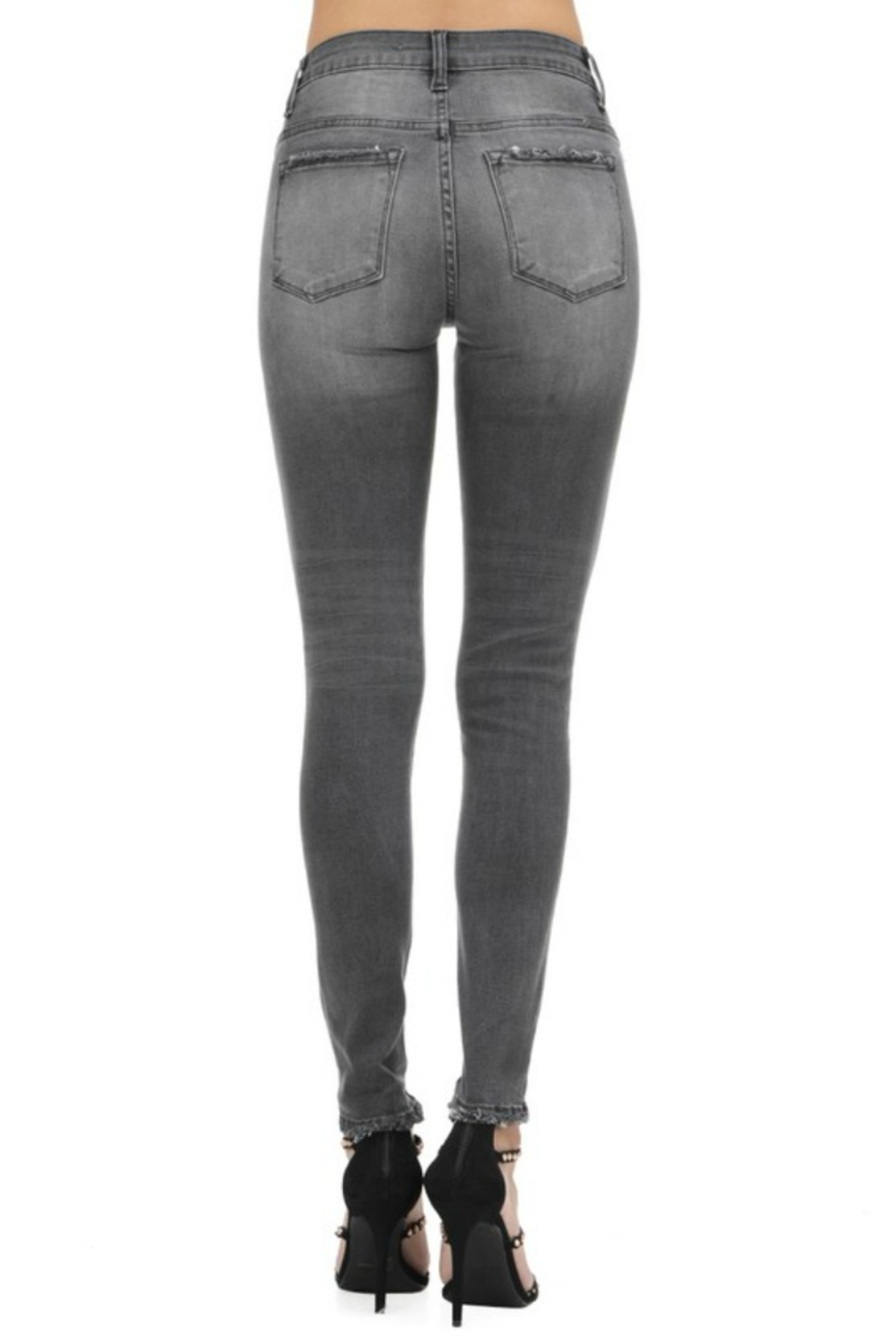 Kan Can GREY HIGH RISE SKINNY - Back Cropped Image