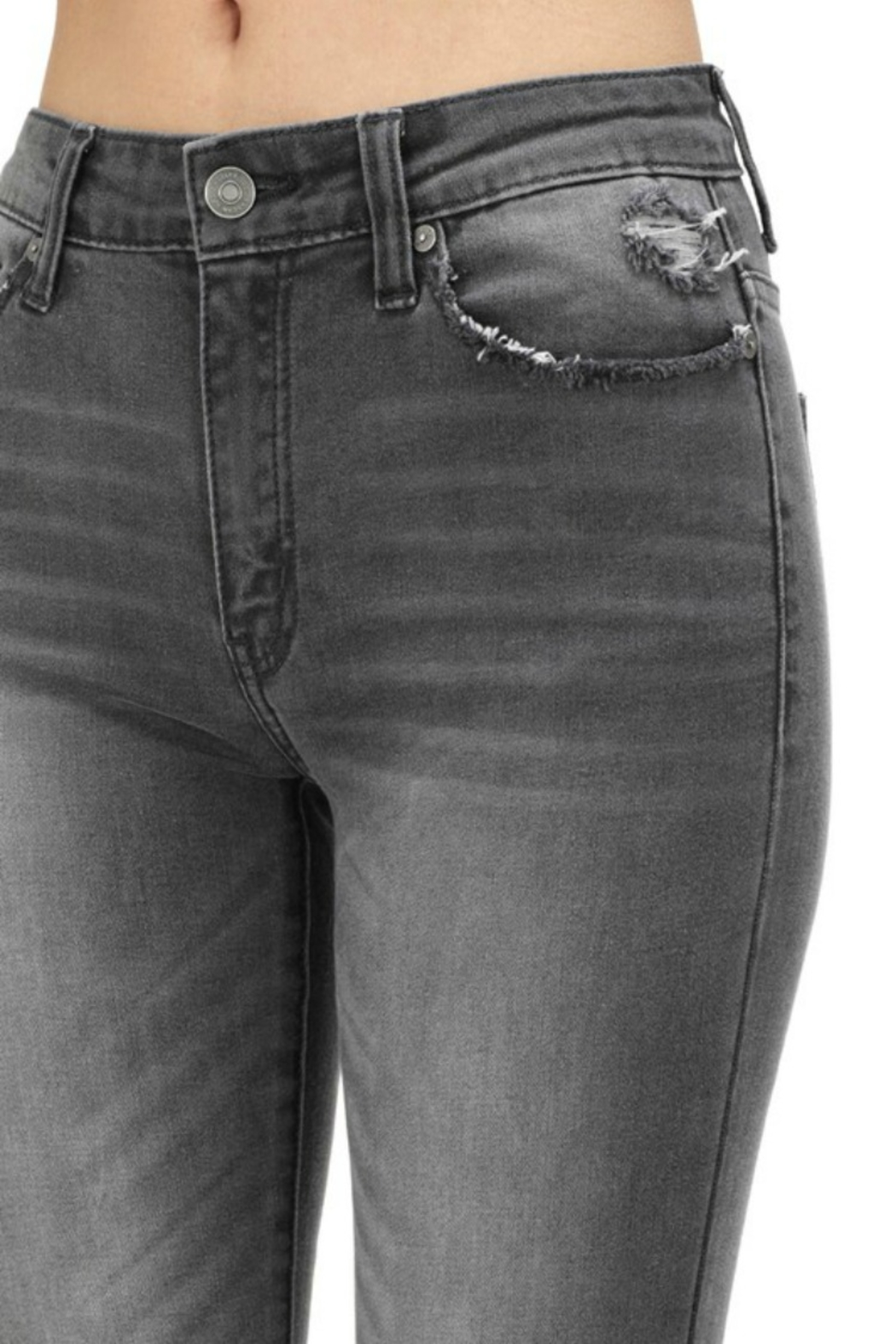 Kan Can GREY HIGH RISE SKINNY - Side Cropped Image
