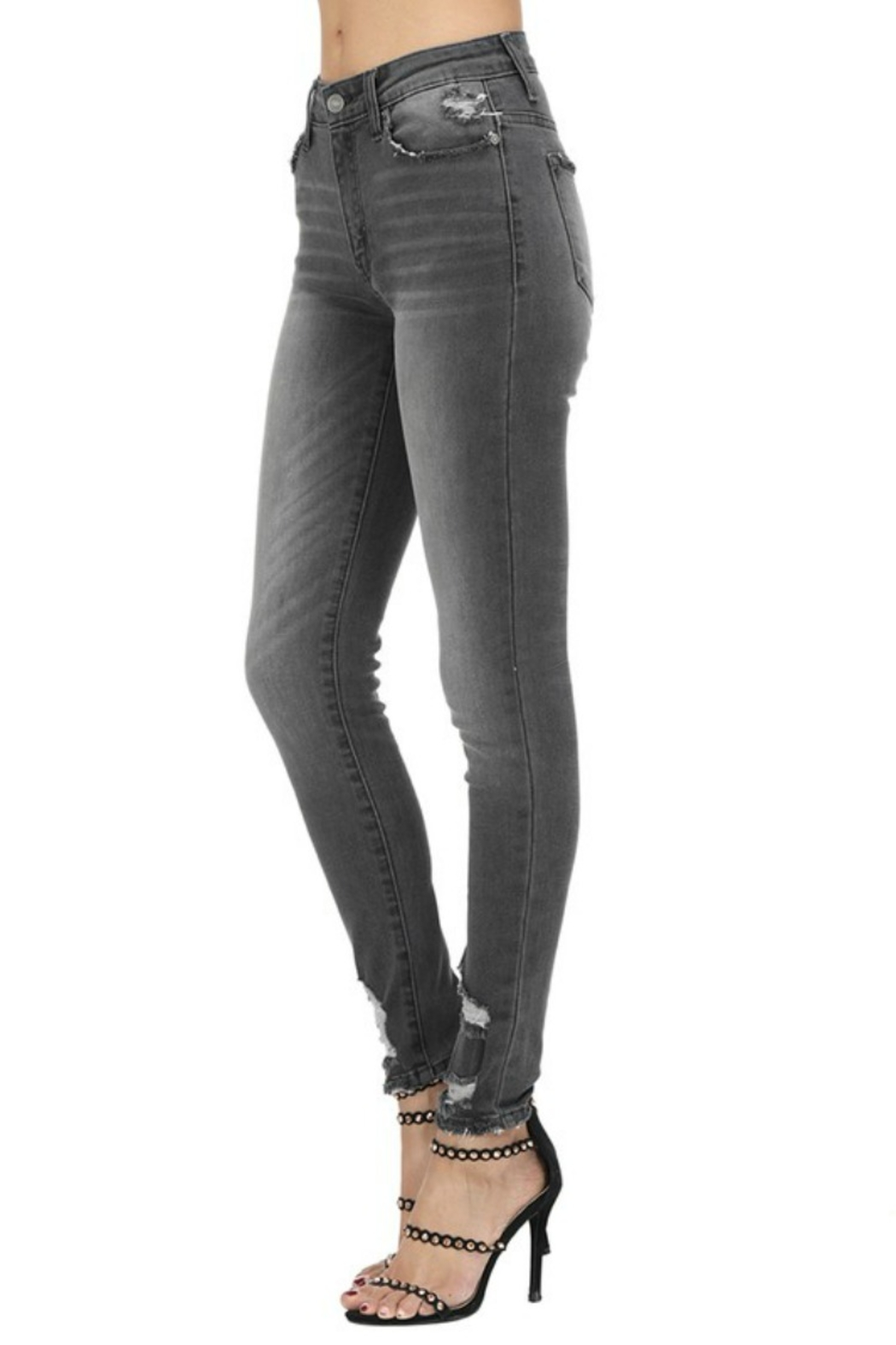 Kan Can GREY HIGH RISE SKINNY - Front Full Image