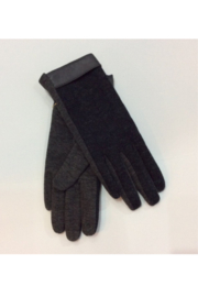 DiJore Grey knit gloves with grey leather band at wrist - Product Mini Image