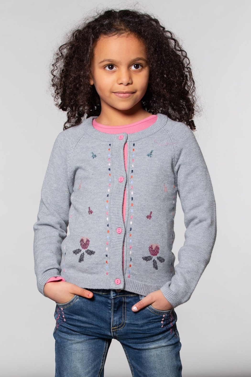 Deux Par Deux Grey Knitted Cardigan With Floral Embroidery - Front Full Image