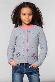 Deux Par Deux Grey Knitted Cardigan With Floral Embroidery - Front full body