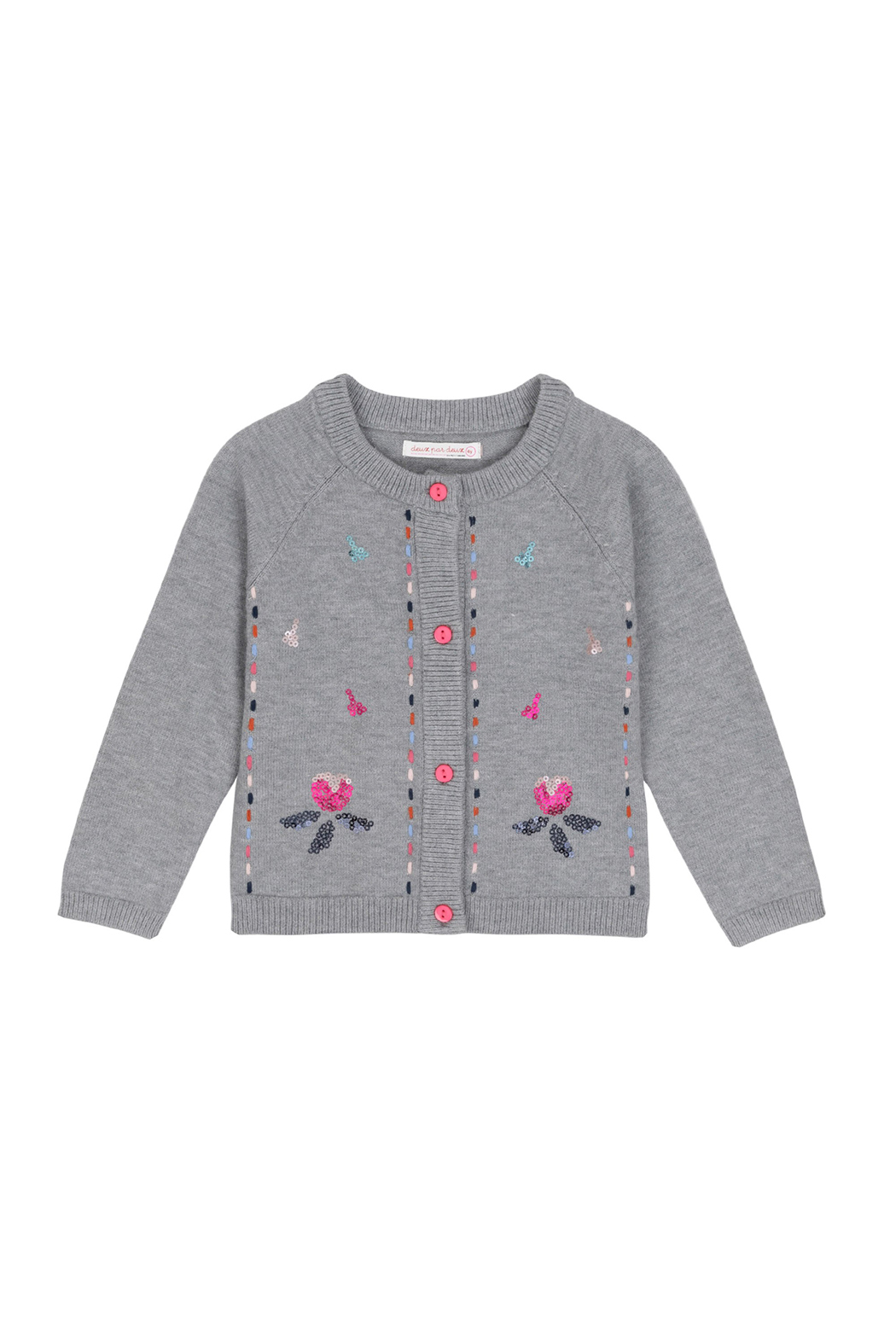 Deux Par Deux Grey Knitted Cardigan With Floral Embroidery - Main Image