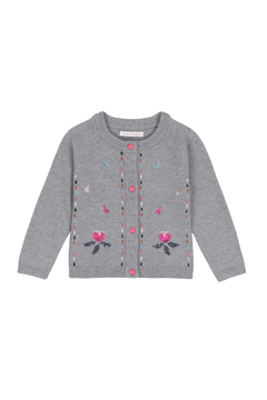 Shoptiques Product: Grey Knitted Cardigan With Floral Embroidery