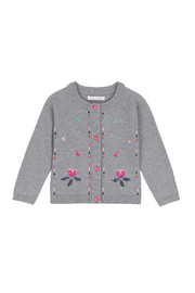 Deux Par Deux Grey Knitted Cardigan With Floral Embroidery - Front cropped
