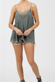 POL Grey Lace Cami - Front cropped