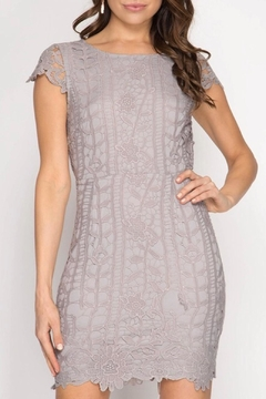 Shoptiques Product: Grey Lace Dress