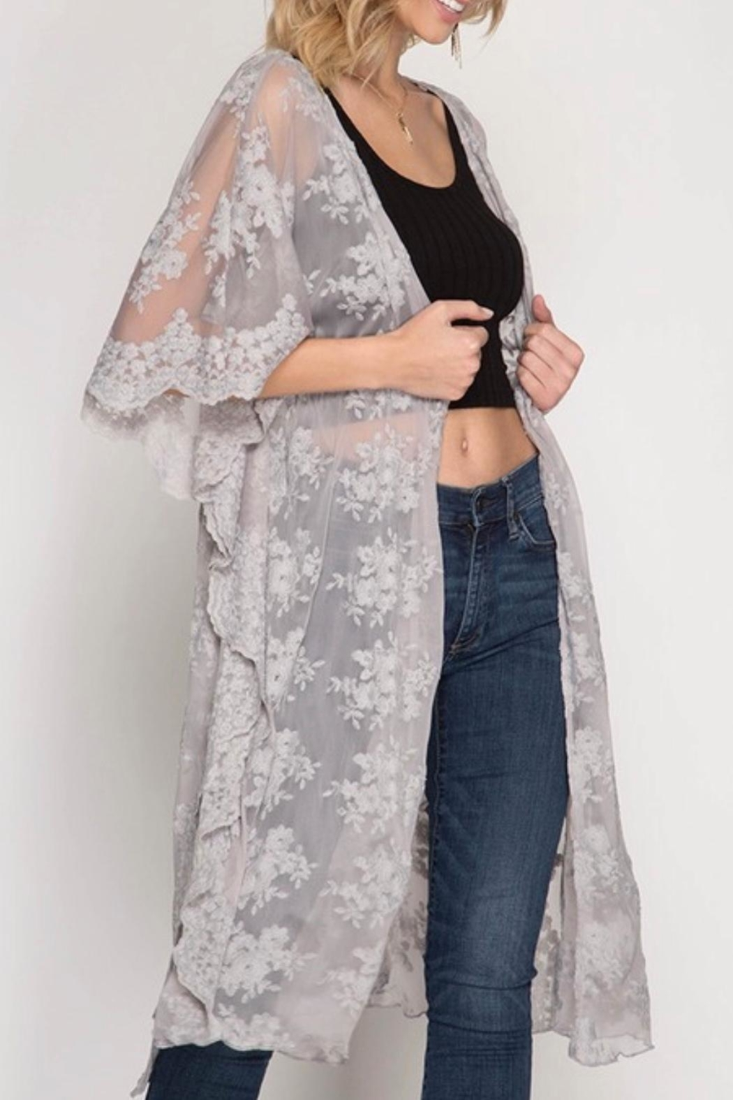 She + Sky Grey Lace Kimono - Front Cropped Image