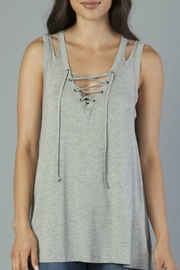 Another Love Grey Lace Up Split Shoulder Tank - Product Mini Image