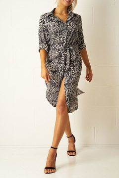 frontrow Grey Leopard Shirt-Dress - Product List Image